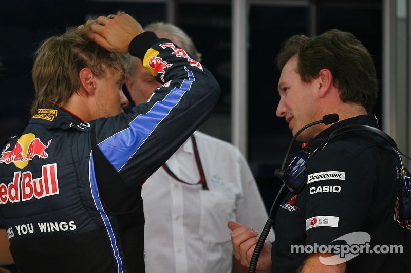 Sebastian Vettel, Red Bull Racing et Christian Horner, directeur général de Red Bull Racing