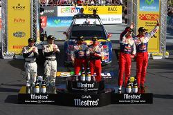 Podium: winners Sébastien Loeb and Daniel Elena, Citroën C4, Citroën Total World Rally Team, second place Petter Solberg and Chris Patterson, Citroën C4 WRC, Petter Solberg Rallying, third place Daniel Sordo and Diego Vallejo, Citroën C4 Citroën Tot