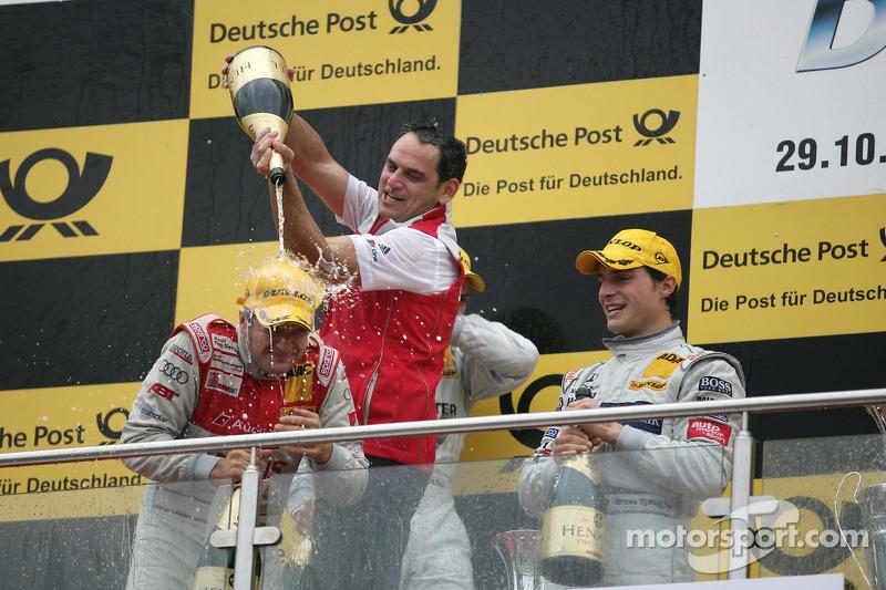Podium: race winnaar Timo Scheider, Audi Sport Team Abt Audi A4 DTM, 3de Bruno Spengler, Team HWA AM