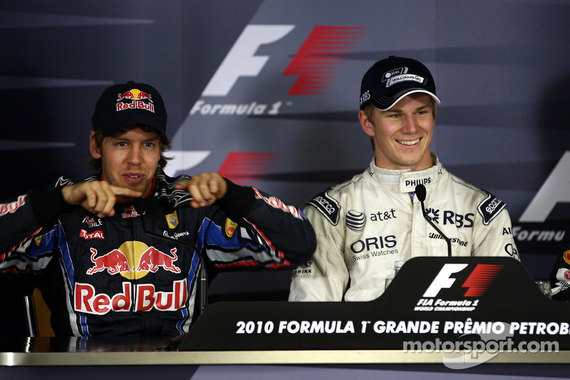 Persconferentie: polezitter Nico Hulkenberg, Williams F1 Team, 2de Sebastian Vettel, Red Bull Racing