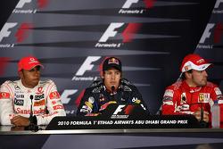 Press conference: pole winner Sebastian Vettel, Red Bull Racing, second place Lewis Hamilton, McLaren Mercedes, third place Fernando Alonso, Scuderia Ferrari