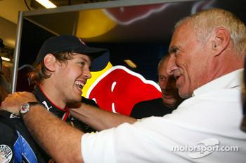 Sebastian Vettel, Red Bull Racing and Dietrich Mateschitz, Owner of Red Bull