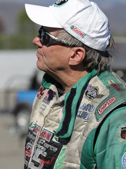 John Force moments after defeating former team mate Gary Densham in Round 1 of the Auto Club NHRA Finals