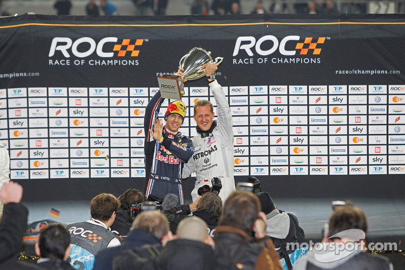 Podium: Nations Cup winners Michael Schumacher and Sebastian Vettel for Team Germany