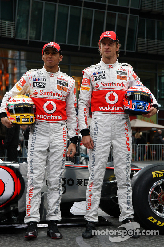 Lewis Hamilton, McLaren Mercedes; Jenson Button, McLaren Mercedes