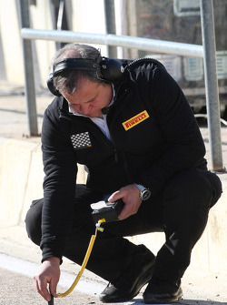 A Pirelli Tyre engineer