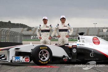 The Sauber team - Kamui Kobayashi and Sergio Perez