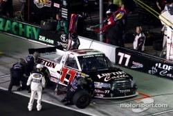 Pit stop for Justin Lofton, Germain Racing Toyota
