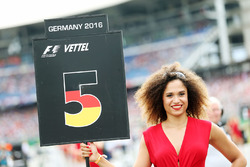 Grid girl for Sebastian Vettel, Ferrari