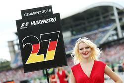 Grid girl for Nico Hulkenberg, Sahara Force India F1