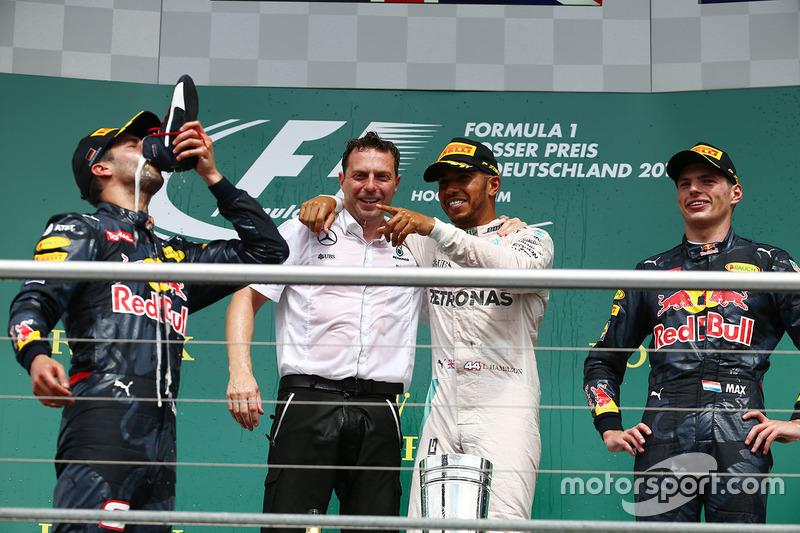 1. Lewis Hamilton, 2. Daniel Ricciardo, 3. Max Verstappen