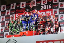 Podium: Sieger #21 Yamaha Factory Racing Team: Katsuyuki Nakasuga, Pol Espargaro, Alex Lowes; 2. #87 Team Green: Akira Yanagawa, Kazuki Watanabe, Leon Haslam; 3. #12 Yoshimura Suzuki: Takuya Tsuda, Joshua Brookes