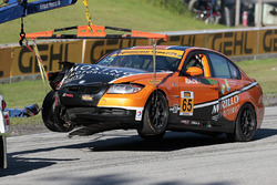 #65 Murillo Racing BMW 328i: Tim Probert, Brent Mosing after a crash