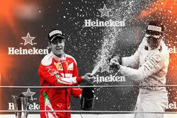 Sebastian Vettel, Ferrari e Nico Rosberg, Mercedes AMG F1, festeggiano sul podio
