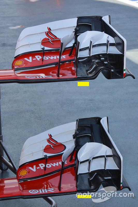 Ferrari SF16-H comparación de ala delantera