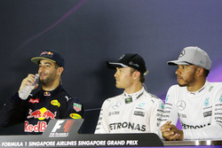 Qualifying top three in  the FIA Press Conference (L to R): Daniel Ricciardo, Red Bull Racing, second; Nico Rosberg, Mercedes AMG F1, pole position; Lewis Hamilton, Mercedes AMG F1, third