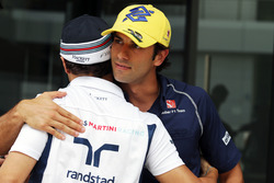 (L to R): Felipe Massa, Williams with Felipe Nasr, Sauber F1 Team