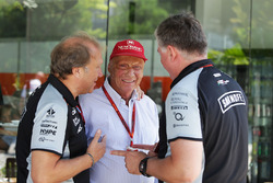 (L to R): Robert Fernley, Sahara Force India F1 Team Deputy Team Principal with Niki Lauda, Mercedes Non-Executive Chairman and Otmar Szafnauer, Sahara Force India F1 Chief Operating Officer