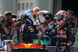 Second place Max Verstappen, Red Bull Racing and race winner Daniel Ricciardo, Red Bull Racing