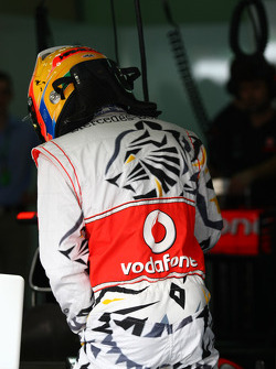 Lewis Hamilton, McLaren Mercedes with his special overalls for Saturday