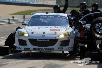 Pit stop for #69 SpeedSource Mazda RX-8: Emil Assentato, Jeff Segal