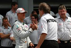 Michael Schumacher, Mercedes GP F1 Team and Norbert Haug, Mercedes, Motorsport chief