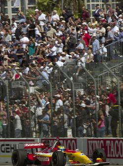 Fans salute race winner Sébastien Bourdais