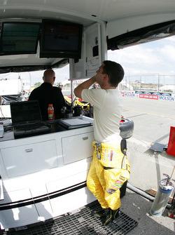 Timo Glock at Rocketsports Racing pit area