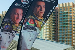 Banners for RuSPORT drivers Justin Wilson and A.J. Allmendinger