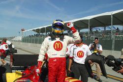 Sébastien Bourdais celebrates winning the provisional pole