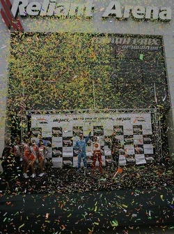A confetti shower on the podium