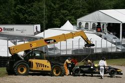 Jan Heylen is lifted off the gravel pit