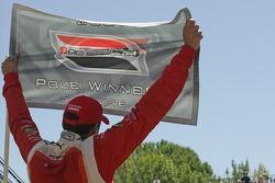 Pole winner Justin Wilson celebrates