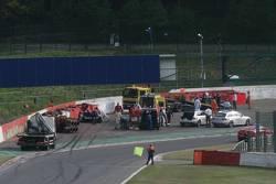 Crash of #36 RML HPD ARX -01d: Mike Newton, Thomas Erdos, Ben Collins and #9 Peugeot Sport Total Peugeot 908: Sébastien Bourdais, Simon Pagenaud, Pedro Lamy