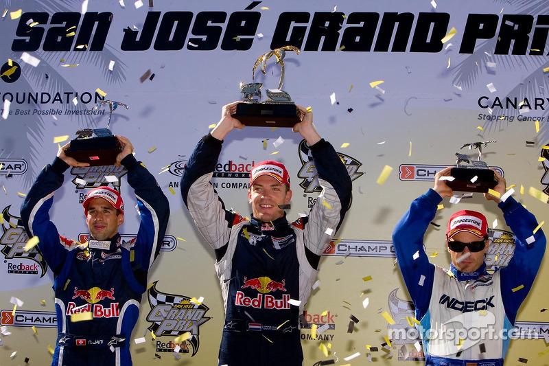 Podium: race winner Robert Doornbos with Neel Jani and Oriol Servia
