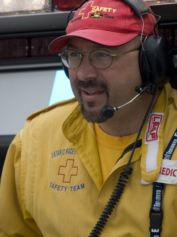 One of the many volunteers on the safety team