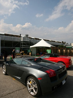 Exotic cars in the paddock