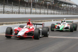Dan Wheldon and Tony Kanaan of Team Andretti/Green roll out to practice