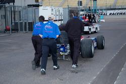 Pushing Roger Yasukawa's car to the track