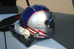 Marco Andretti's helmet sits ready on the pit wall