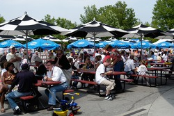 Fans enjoy the Plaza at the Speedway