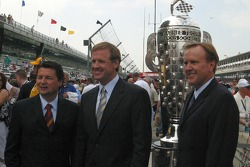 The ABC Television crew pose with the Borg Warner Trophy
