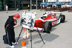 An artist at work at the Indianapolis Motor Speedway