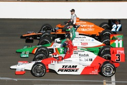 The top three Pole position leaders, Dario Franchitti, Tony Kanaan, and pole winner Helio Castroneves