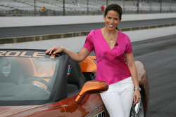 A lovely lady after a ride in the Covette Pace Car with Patrick Dempsey