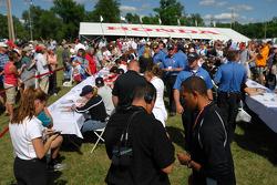 Fans gather for autographs