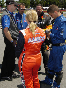 Sarah Fisher listens to the crew