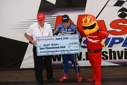 Scott Dixon accepts the pole check
