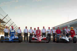 Front row photoshoot: pole winner Alex Tagliani, Sam Schmidt Motorsports, second place Scott Dixon, Target Chip Ganassi Racing, third place Oriol Servia, Newman / Haas Racing