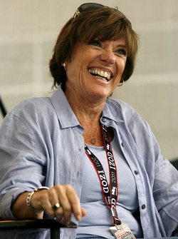 Lyn St. James speaks to fellow drivers during a question and answer period at the Indianapolis Motor Speedway on Bump Day